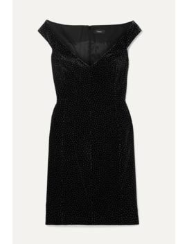 Off The Shoulder Polka Dot Cotton Velvet Mini Dress by Theory