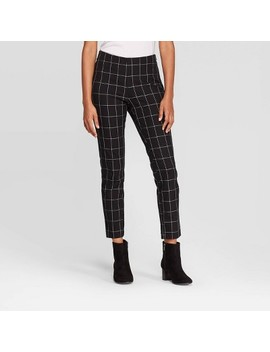 Women's Plaid High Rise Skinny Ankle Pants   A New Day™ Black/White by A New Day