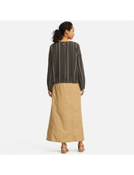 Women Hpj Linen Blend Long Sleeve Blouse by Uniqlo