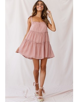 Dolly Layered Ruffle Tied Shoulder Strap Dress Rose by Selfie Leslie
