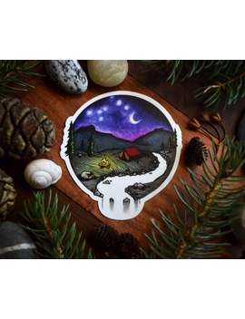 Medium Vinyl Stickers: Campfire (Blue Ridge Mountains) Circle Art by Etsy