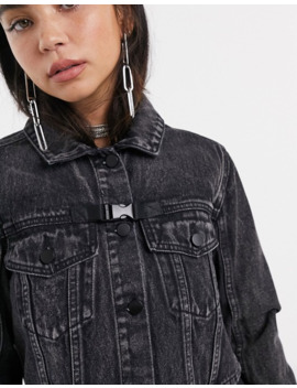 Signature 8 Cropped Denim Jacket With Harness Detail by Signature 8