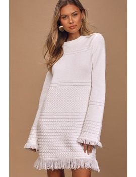 Ambitious Attitude White Cable Knit Long Sleeve Mini Dress by Lulus