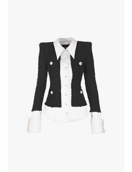 Black And White Tweed And Satin Shirt Jacket by Balmain
