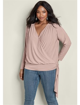 Plus Size Surplice Side Tie Top by Venus
