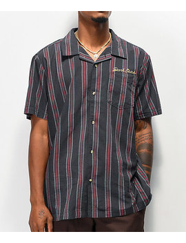 Dark Seas Striker Navy & Red Striped Woven Short Sleeve Button Up Shirt by Dark Seas