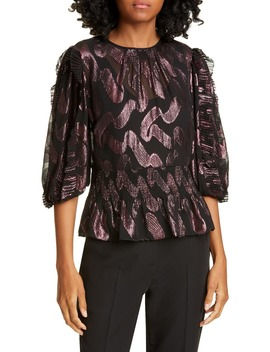 Metallic Jacquard Ruffle Sleeve Silk Chiffon Top by Rebecca Taylor