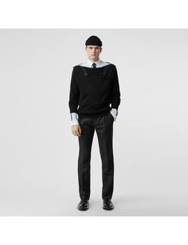 Zip Detail Linen Blend Pleated Trousers by Burberry