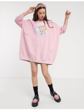 Lazy Oaf Oversized Sweat Dress With Kittens Graphic by Lazy Oaf