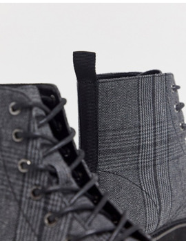 Asos Design Lace Up Boots In Check With Raised Chunky Black Sole by Asos Design