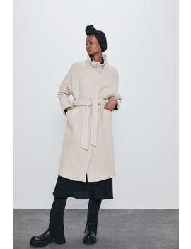 Textured Coat With Tie Belt by Zara