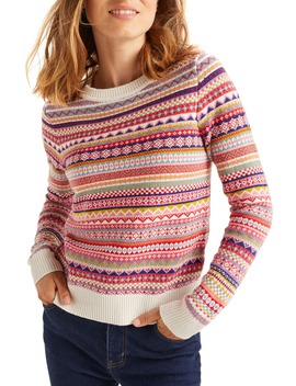 Louise Fair Isle Crewneck Sweater by Boden