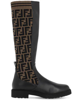 30 Mm Tall Leather &Amp; Knit Sock Boots by Fendi