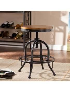 Carbon Loft Horstmann Dark Pine/Black Industrial Style Adjustable Stool by Carbon Loft