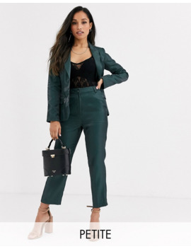 Fashion Union Petite Tailored Pants Coord With Pleat Detail In Green Satin by Fashion Union's