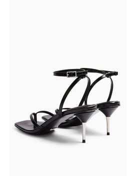Radiant Black Mid Metal Heels by Topshop