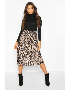 Leopard Satin Slip Midi Skirt by Boohoo