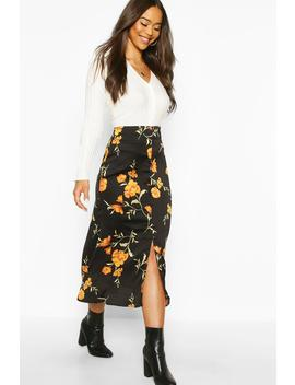 Button Front Floral Midi Skirt by Boohoo