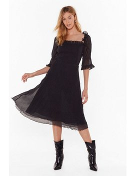 Only Time Frill Tell Puff Sleeve Midi Dress by Nasty Gal
