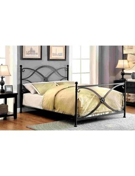 Furniture Of America Melissa Modern Swirled Inspired Matte Black Metal Bed, Multiple Sizes by Furniture Of America