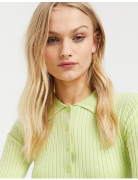 Monki Button Through Fine Knit Top In Mint Green by Monki