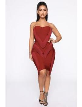 Broken Wings Bandage Mini Dress   Burgundy by Fashion Nova