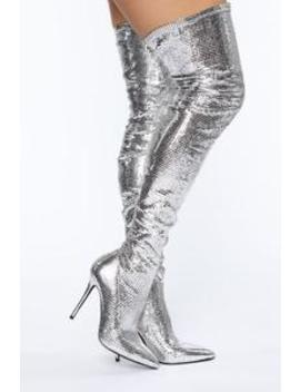 Now You See Me Boots   Silver by Fashion Nova