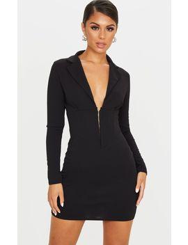 Black Long Sleeve Corset Detail Blazer Dress by Prettylittlething