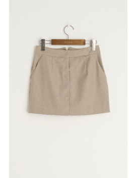 Hound Tooth Check Mini Skirt, Beige by Olive