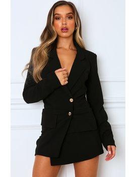 Hold The Line Blazer Dress Black by White Fox