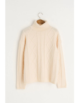 Cable Roll Neck Jumper, Ivory by Olive