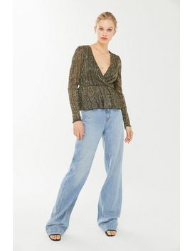 Uo Kenzie Sparkly Surplice Peplum Top by Urban Outfitters