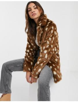Urbancode Faux Fur Coat In Deer by Urbancode