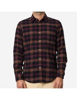 Portuguese Flannel Compact Plaid Flannel Shirt   Purple/Black by Garmentory
