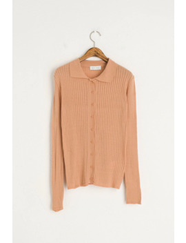 Light Weight Button Cardigan Style Top, Apricot by Olive