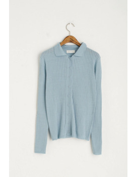 Light Weight Button Cardigan Style Top, Blue by Olive