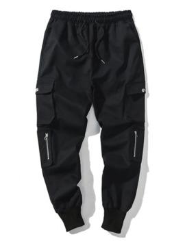 Solid Color Multi Pocket Drawstring Jogger Pants   Black M by Zaful
