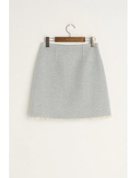 Raw Edge Mini Skirt, Blue by Olive