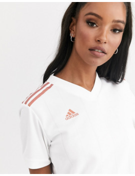 Adidas Soccer Tiro Jersey Top In White by Adidas