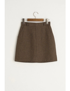Ella Simple Check Mini Skirt, Brown by Olive
