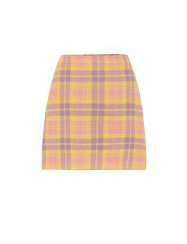 Checked Wool Blend Miniskirt by Miu Miu