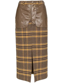 High Rise Check Midi Pencil Skirt by Rejina Pyo