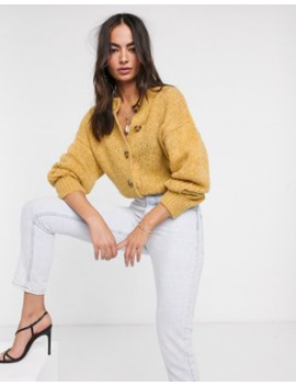 Asos Design Crew Neck Cardi With Button Detail In Fluffy Knit by Asos Design