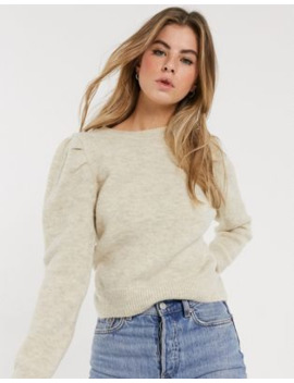 New Look Puff Sleeve Jumper In Oatmeal by New Look