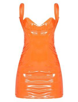 Petite Orange Vinyl Cup Detail Mini Dress  by Prettylittlething