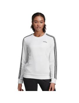 Women's Adidas 3 Stripe Fleece Crewneck Sweatshirt by Adidas