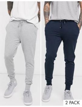 Asos Design Skinny Sweatpants With Deep Rib 2 Pack Navy / Gray Marl by Asos Design
