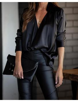 Problem Solved Satin Collared Drape Blouse   Black by Vici