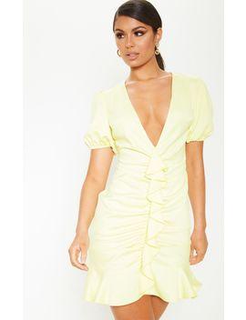 Pastel Lemon Satin Puff Sleeve Frill Bodycon Dress by Prettylittlething