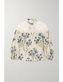 Lace Trimmed Point D'esprit Tulle And Floral Print Silk Blouse by Red Valentino